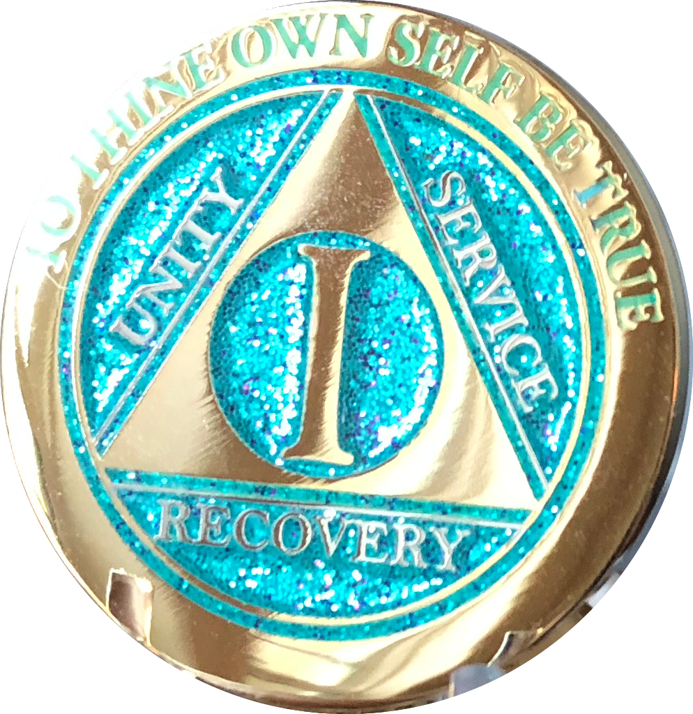 1 - 10 Year AA Medallion Elegant Glitter Aqua Turquoise Gold & Silver Plated Sobriety Chip - RecoveryChip