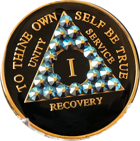 Light Amethyst AB Swarovski Crystal AA Medallion Black Tri-Plate Sobriety Chip Year 1 - 50 - RecoveryChip