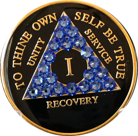 Blue Sapphire Swarovski Crystal AA Medallion Black Tri-Plate Sobriety Chip Year 1 - 50 - RecoveryChip