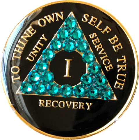 Blue Zircon Swarovski Crystal AA Medallion Black Tri-Plate Sobriety Chip Year 1 - 50 - RecoveryChip
