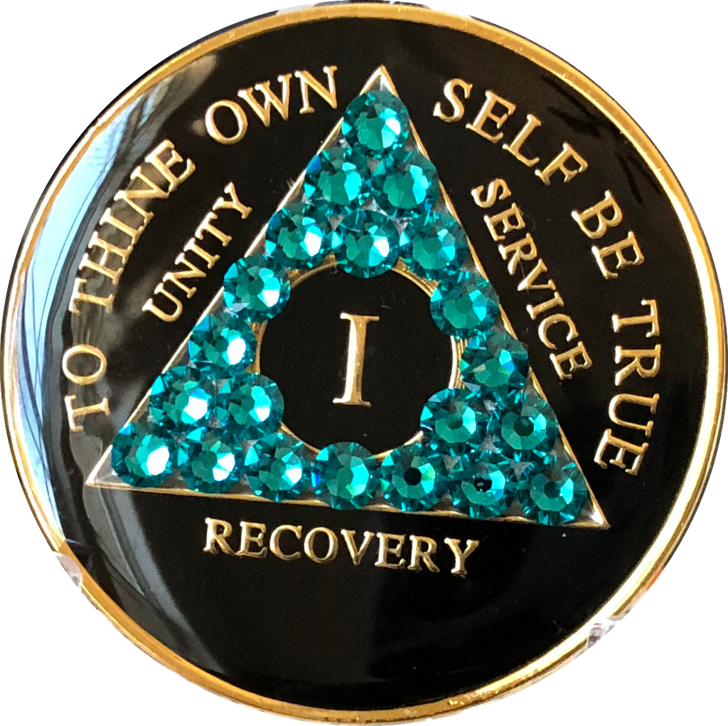 Crystallized AA Medallion Black Blue Zircon Tri-Plate Sobriety Chip Year 1 - 50 - RecoveryChip