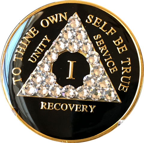 Swarovski Crystal AA Medallion Black Tri-Plate Sobriety Chip Year 1 - 50 - RecoveryChip