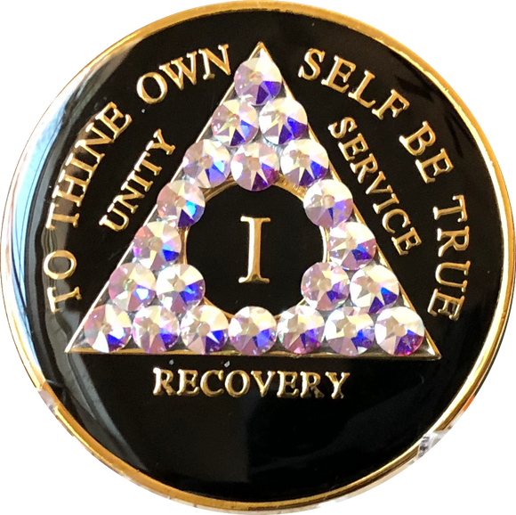 Amethyst Swarovski Crystal AA Medallion Black Tri-Plate Sobriety Chip Year 1 - 50 - RecoveryChip
