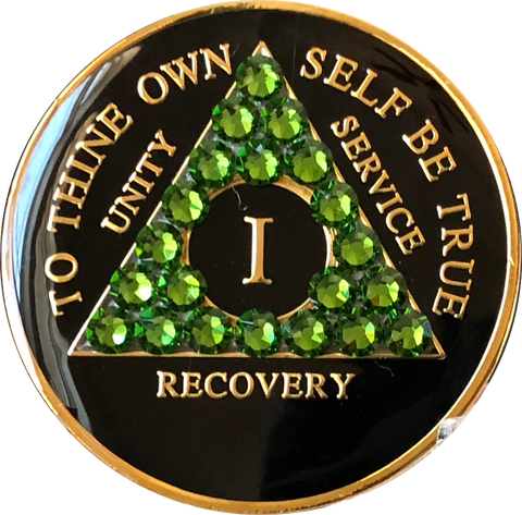 Fern Green Swarovski Crystal AA Medallion Black Tri-Plate Sobriety Chip Year 1 - 50 - RecoveryChip