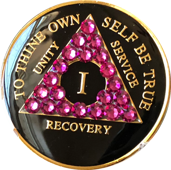 Pink Fuschia Swarovski Crystal AA Medallion Black Tri-Plate Sobriety Chip Year 1 - 50 - RecoveryChip