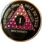 AA Medallion Black Pink Transition Crystal Tri-Plate Sobriety Chip Year 1 - 50 - RecoveryChip