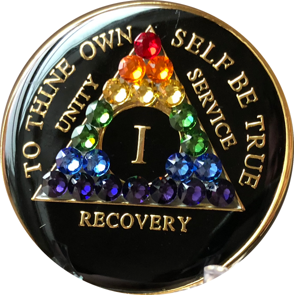 1 Year AA Medallion Black Tri-Plate Rainbow Swarovski Crystal Sobriety Chip - RecoveryChip