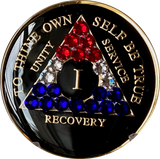 1 - 50 Year AA Medallion Black Tri-Plate With Red White Blue Swarovski Crystals American Patriotic Veteran Theme