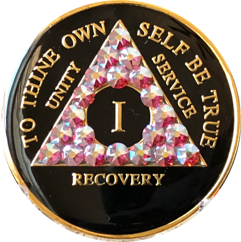 Rose Swarovski Crystal AA Medallion Black Tri-Plate Sobriety Chip Year 1 - 50 - RecoveryChip