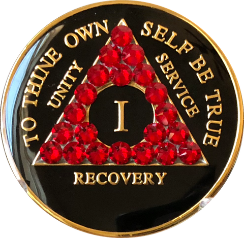 Siam Red Swarovski Crystal AA Medallion Black Tri-Plate Sobriety Chip Year 1 - 50 - RecoveryChip