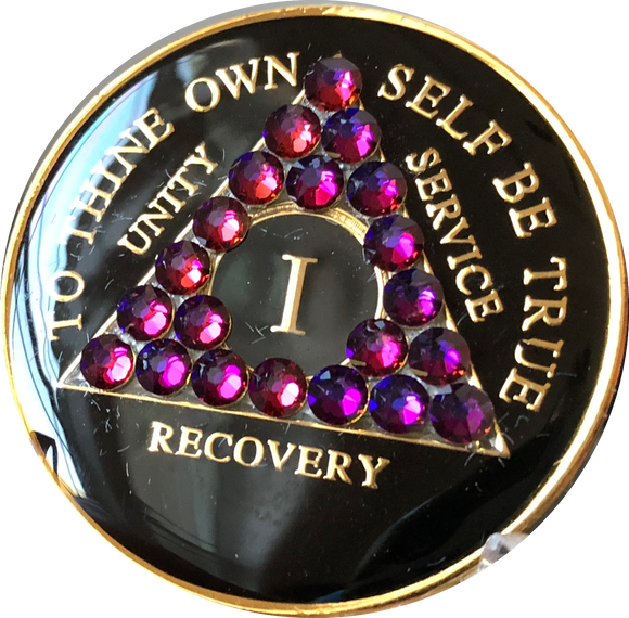 Crystallized AA Medallion Black Volcano Tri-Plate Sobriety Chip Year 1 - 50 - RecoveryChip