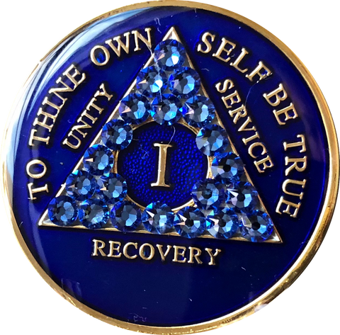 Crystallized AA Medallion Sapphire Blue Tri-Plate Sobriety Chip Year 1 - 50 - RecoveryChip