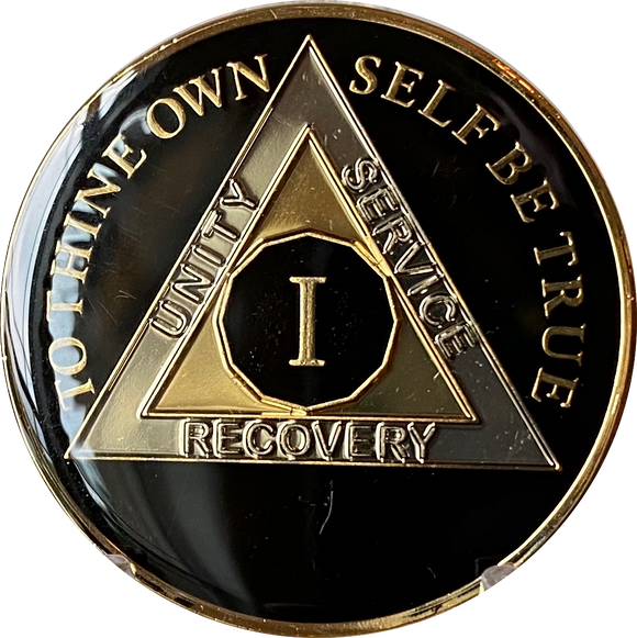 1 - 10 AA Medallion Glossy Classic Black Tri-Plate Sobriety Chip