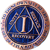 1 Year Copper Plated AA Medallion Reflex Blue Design By Recoverychip.com - RecoveryChip
