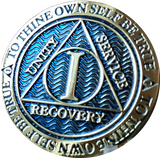 1 2 or 3 Year Dusty Blue Gold Plated AA Medallion Reflex Design - RecoveryChip