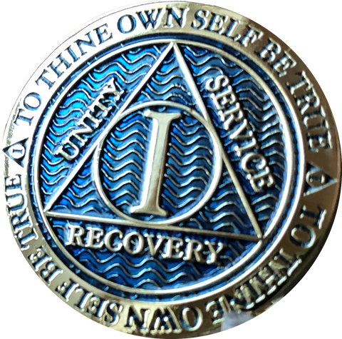 1 - 40 Year Dusty Blue Gold Plated AA Medallion Reflex Design - RecoveryChip