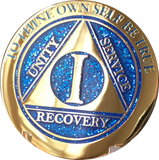1 Year AA Medallion Elegant Glitter Blue Gold & Silver Plated Sobriety Chip - RecoveryChip