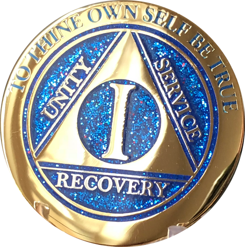 1 Year AA Medallion Elegant Glitter Blue Gold & Silver Plated Sobriety Chip