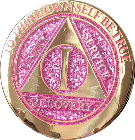 1 - 10 Year AA Medallion Elegant Glitter Pink Gold & Silver Plated Sobriety Chip - RecoveryChip