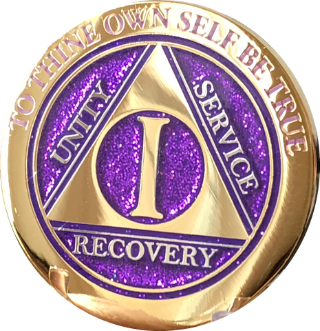 1 Year AA Medallion Elegant Glitter Purple Gold & Silver Plated Sobriety Chip
