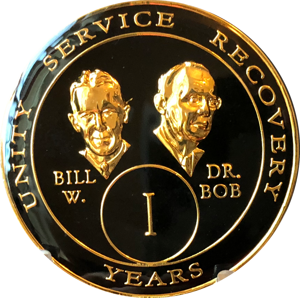 Founders AA Medallion Black Gold Plated Bill & Bob Tri-Plate Sobriety Chip Year 1 - 40 - RecoveryChip