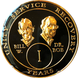 Founders AA Medallion Black Gold Plated Bill & Bob Tri-Plate Sobriety Chip Year 1 - 50 - RecoveryChip