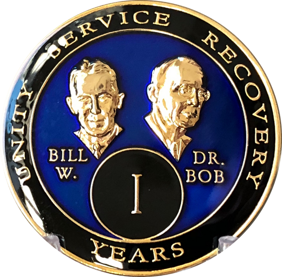 Founders AA Medallion Blue Bill & Bob Tri-Plate Sobriety Chip Year 1 - 65 Bill W & Doctor Bob - RecoveryChip