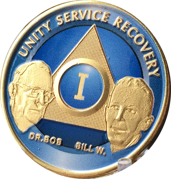 Ocean Breeze Blue Gold Plated AA Founders Medallion Chip Year 1 - 65 Bill W Dr Bob - RecoveryChip