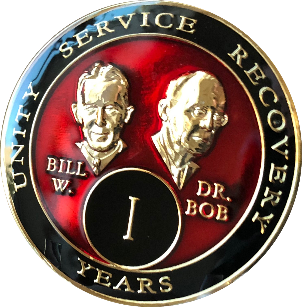 Founders AA Medallion Red Bill & Bob Tri-Plate Sobriety Chip Year 1 - 50 - RecoveryChip