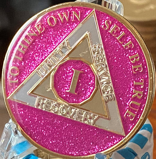 1 Year AA Medallion Fuchsia Pink Glitter Tri-Plate Sobriety Chip