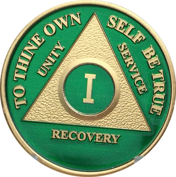 AA Medallion Green Gold Plated Year 1 - 65 Alcoholics Anonymous Chip - RecoveryChip
