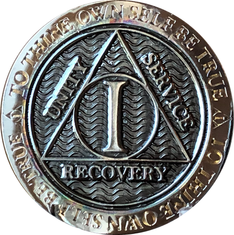 1 Year Gun Metal AA Medallion Reflex Design By Recoverychip.com - RecoveryChip
