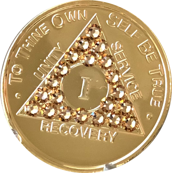 Topaz Swarovski Crystal AA Medallion Gold Plated Sobriety Chip Year 1 - 56 - RecoveryChip