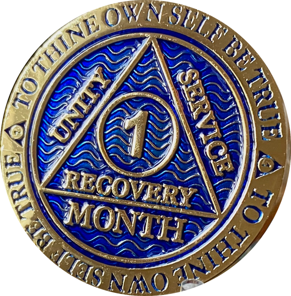 1 - 11 Month AA Medallion Reflex Dusty Blue Gold Plated Sobriety Chip Coin