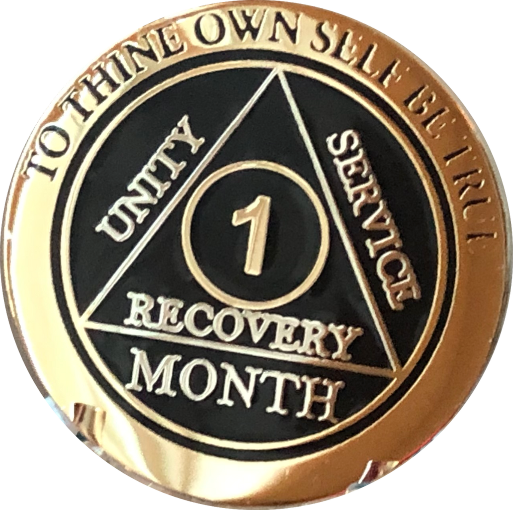 1 3 6 9 or 18 Month AA Medallion Elegant Black Gold and Silver Plated Sobriety Chip - RecoveryChip