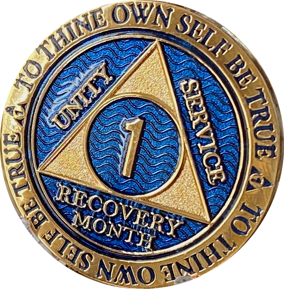 1 Month AA Medallion Elegant Blue Gold Plated 30 Day Sobriety Chip