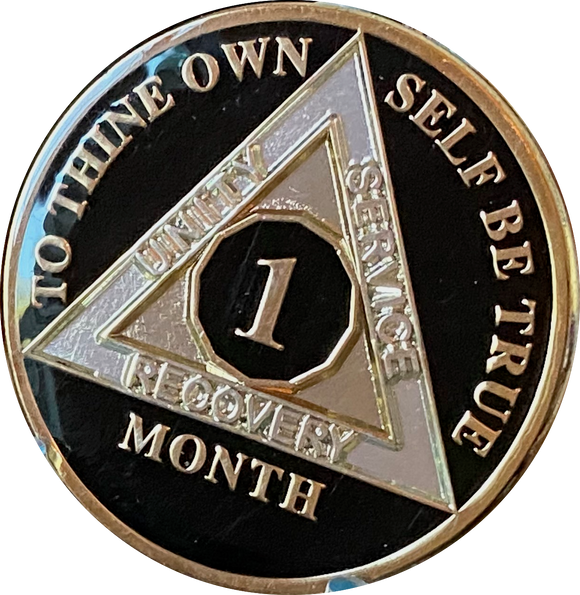 1 2 3 4 5 6 7 8 9 10 11 or 18 Month AA Medallion Classic Black Tri-Plate Sobriety Chip