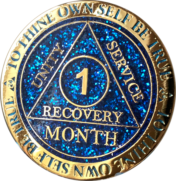 1 Month AA Medallion Reflex Blue Glitter Gold Plated Sobriety Chip - RecoveryChip
