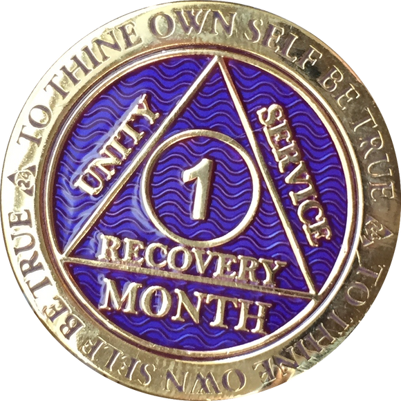 1 - 11 Month AA Medallion Reflex Purple Gold Plated Sobriety Chip Coin - RecoveryChip