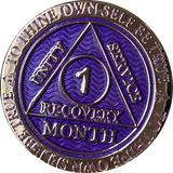 1 Month AA Medallion Reflex Purple Silver Plated Sobriety Chip Coin