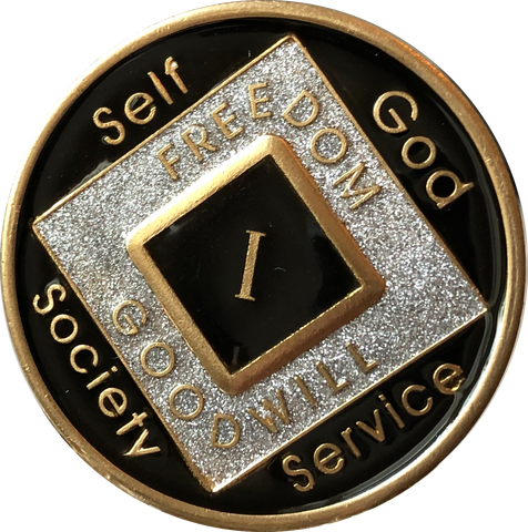 Offical NA Tri-Plate Black Silver & Gold Color Narcotics Anonymous Medallions 18 Month Year 1 - 50 - RecoveryChip