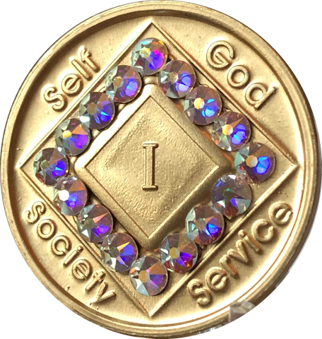 1 - 40 Year Official NA Medallion With Crystal AB Color Swarovski Crystal - RecoveryChip