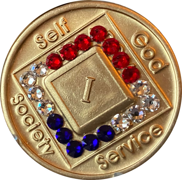 1 - 40 Year Official NA Medallion With Red White Blue Patriotic Color Swarovski Crystal