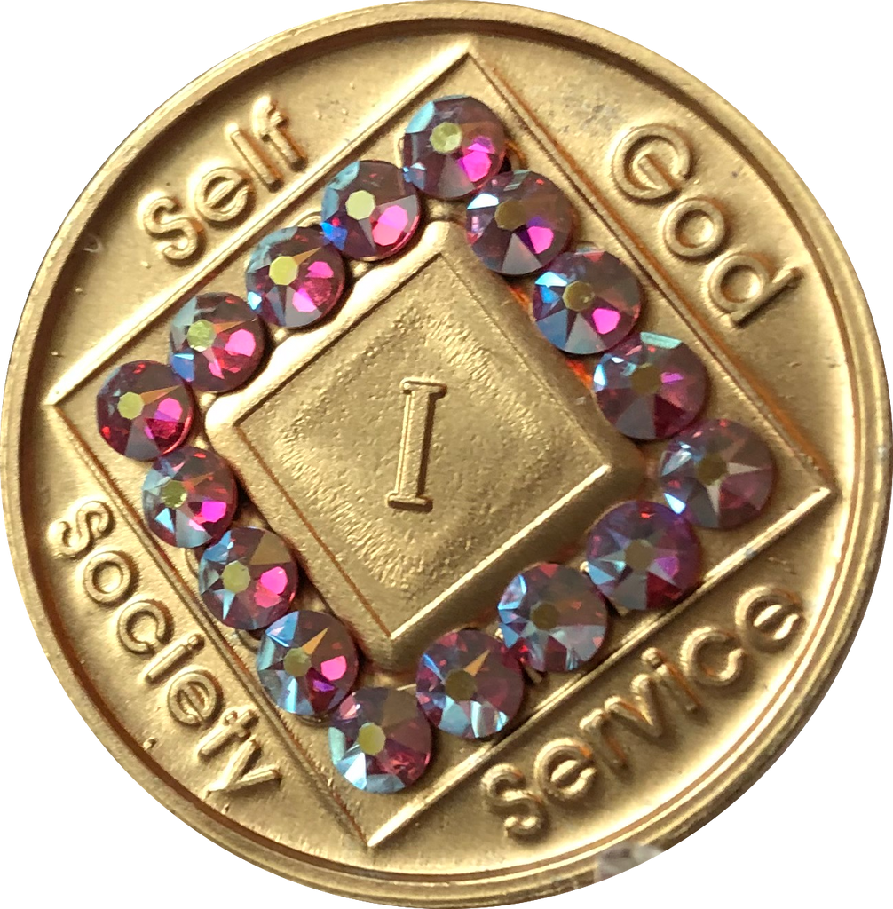 1 - 40 Year Official NA Medallion With Rose Color Swarovski Crystal - RecoveryChip