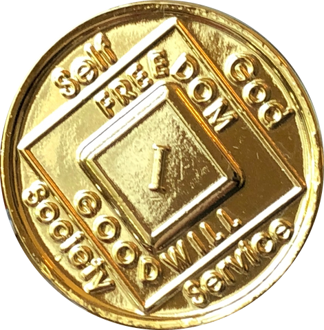 NA Medallion Gold Plated Year 1 - 40 Official Sobriety Chip - RecoveryChip