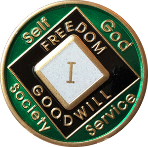 Offical NA Triplate Green & Black Color Narcotics Anonymous Medallion 18 Month Year 1 - 50 - RecoveryChip