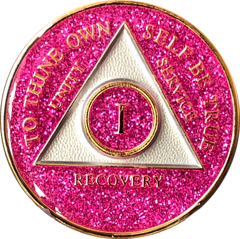 AA Medallion Pink Glitter Tri-Plate Sobriety Chip Year 1 - 50 - RecoveryChip