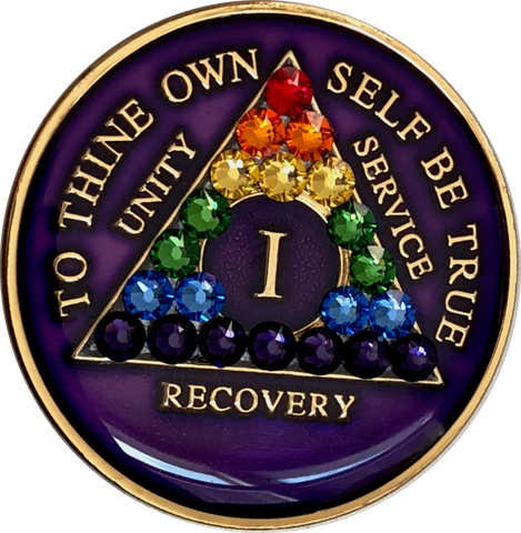 Crystallized AA Medallion Purple Rainbow Tri-Plate Sobriety Chip Year 1 - 50 - RecoveryChip