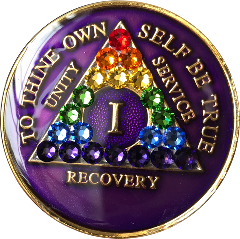1 Year AA Medallion Purple Tri-Plate Rainbow Swarovski Crystal Sobriety Chip - RecoveryChip