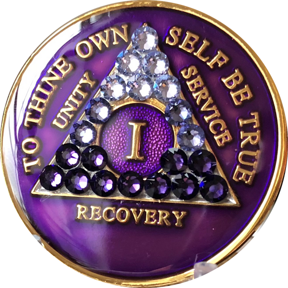 1 Year AA Medallion Purple Tri-Plate Transition Swarovski Crystal Sobriety Chip - RecoveryChip